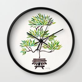 Bonsai Tree – Green Leaves Wall Clock