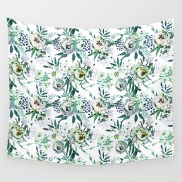 Country white green rustic watercolor floral Wall Tapestry