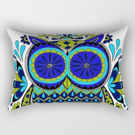 Blue Green Owl Mandala Rectangular Pillow