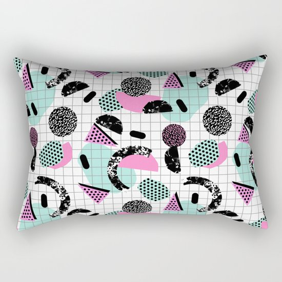 Joshin - memphis throwback retro pop art geoemetric pattern print unique trendy gifts dorm college Rectangular Pillow