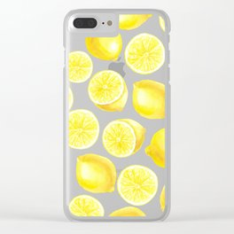 Watercolor lemons design Clear iPhone Case