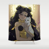 sailormoon Shower Curtains featuring Luna by Mika
