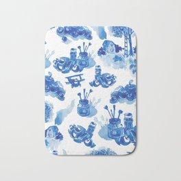 Summer history of watercolor in blue tones Bath Mat