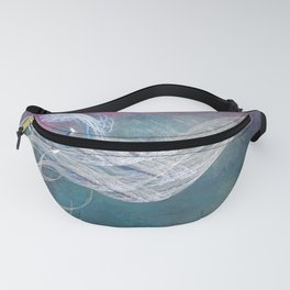 Surreal birds fly in a stormy sky Fanny Pack