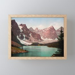 Moraine Lake - Alberta Canada - Circa 1903 Photochrom Framed Mini Art Print