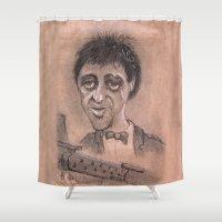 tony stark Shower Curtains featuring Tony by chadizms