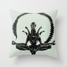 Meditation Alien Throw Pillow