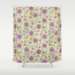 Floral on Lime Shower Curtain