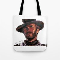 clint eastwood Tote Bags featuring The Good - Clint Eastwood by pabpaint