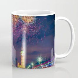 Fireworks above the Palace of Westminster and of the Big Ben - London Coffee Mug