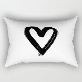 One black brush heart Rectangular Pillow