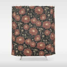 Floral pattern (zinnia, marigold, and daisy flowers) Shower Curtain
