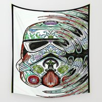 storm trooper Wall Tapestries featuring Psychadelic Storm Trooper by Just Bailey Designs .com