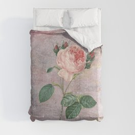 Vintage & Shabby Chic - Rose on pink grunge background  - Roses and flowers garden Comforters