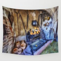 kitchen Wall Tapestries featuring Olde Kitchen by Ian Mitchell