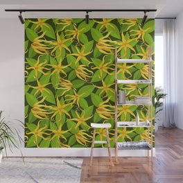 Ylang Ylang Exotic Scented Flowers and Leaves Pattern Wall Mural