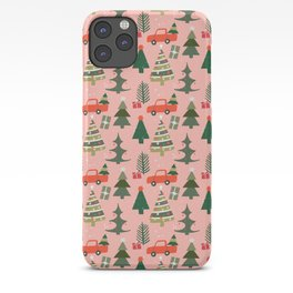 Christmas Tree, Vintage Red Truck, Mid Century Modern, Festive Ornaments iPhone Case