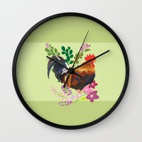 rooster Wall Clocks featuring rooster by Caracheng