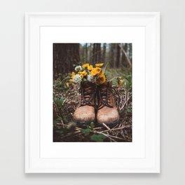 Boots n' Flowers Framed Art Print
