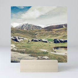 Scenic Snow-Capped Mountains And Majestic Meadow Mini Art Print
