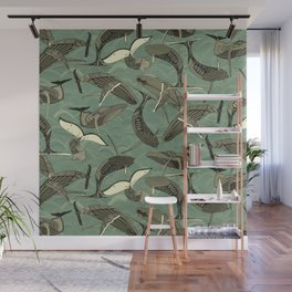 whales and waves aqua Wall Mural