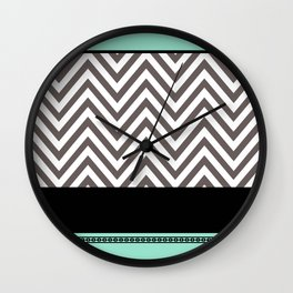 Chevron Striped Seafoam Aqua, Grey, Black Wall Clock