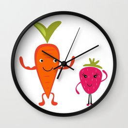 Carrot flirting with Strawberry Wall Clock
