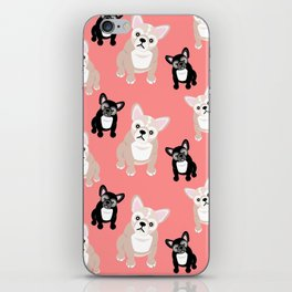 Peachy Pink Frenchies iPhone Skin