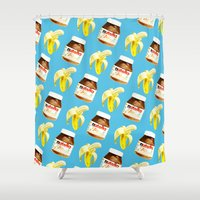 nutella Shower Curtains featuring Because you and me are meant to be by popsicledonut