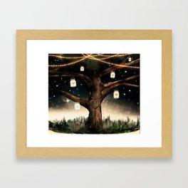 Rustic Mason Jar Tree Framed Art Print