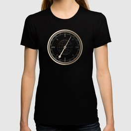 Gold Compass on White T-shirt