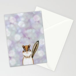 chipmunk woodland animal portrait Stationery Cards