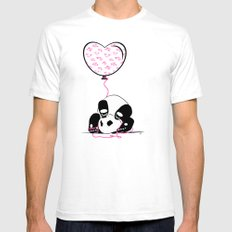 Lovely Panda SMALL White Mens Fitted Tee