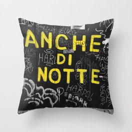 Black and White Yellow Bologna Street Photography Throw Pillow