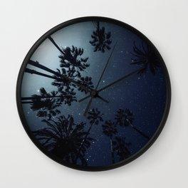 Palm Trees, Night Sky, Stars, Moon Wall Clock
