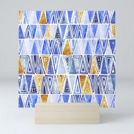 Indigo Blue Gold Tribal Ethnic Triangles Pattern Mini Art Print