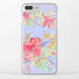 tropical hawaiian flowers periwinkle Clear iPhone Case