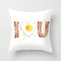bacon Throw Pillows featuring Bacon by Olechka