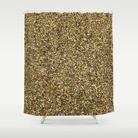 gold glitter Shower Curtains featuring Gold Glitter by Katieb1013