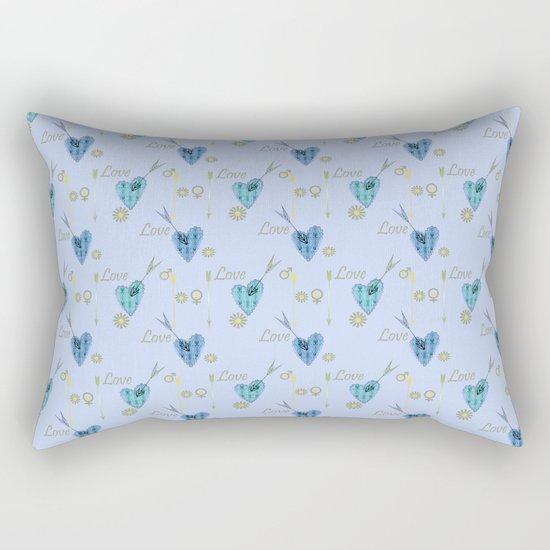 Love . The filigree heart . Blue background . Rectangular Pillow