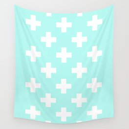 mint and cross Wall Tapestry