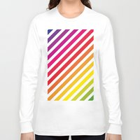 striped Long Sleeve T-shirts featuring Striped Rainbow by Stephanie Keyes Design