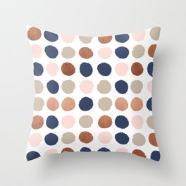 Rose Gold navy copper sparkle modern dots polka dots rosegold trendy pattern cell phone accessories Throw Pillow