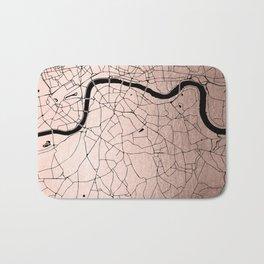 London Rosegold on Black Street Map Bath Mat