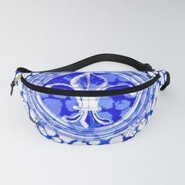 Fleur De Lis Blue And White Pattern Fanny Pack