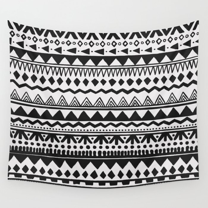 Black  White Hand Drawn Ethnic Pattern