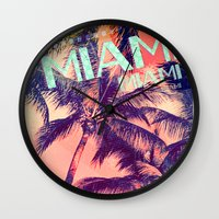 miami Wall Clocks featuring miami by Vlad Isac