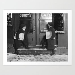 Newsies Outside A Saloon - Connecticut - 1909 Art Print