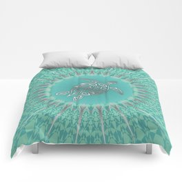 Turquoise Silver Turtle And Mandala Comforters