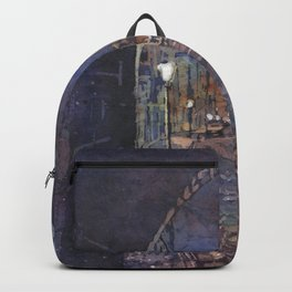 Medieval city of Prague, Czech Republic at night.  Prague watercolor painting street art watercolor Backpack